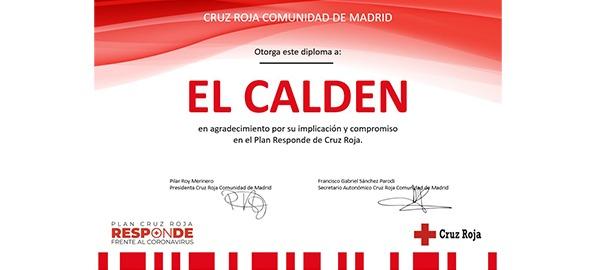 Certificado de colaboración Plan Responde Frente al Covid-19 Cruz Roja
